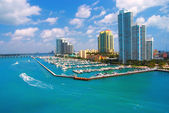 Aerial view of South Miami Beach and skycrappers — Stock Photo