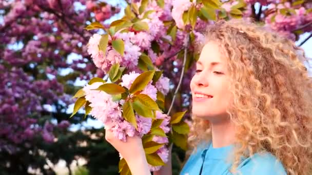 Smiling woman smelling cherry blossom — Vidéo