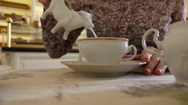 Woman pours milk into the cup — Vídeo de stock