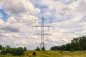 Landscape with Electricity poles — Stock Photo