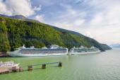 Due da crociera navi ancorate a Skagway, Alaska — Foto Stock