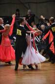 Ballroom dance couple dancing at the competition — Stock Photo
