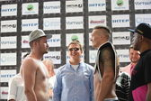 Olympic champion Aleksandr Usyk from Ukraine at the official weigh-in ahead the fight against Johnny Muller — Stock Photo
