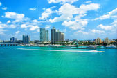 Aerial view of South Miami Beach, bridge  and skycrappers — Stock Photo