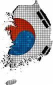 Korea map with flag inside — Vecteur