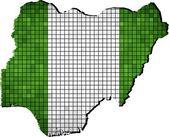 Nigeria map with flag inside — Stock vektor