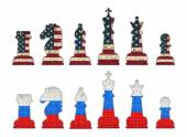 Chess pieces with USA flag and Chess pieces with Russia flag — Stock Vector