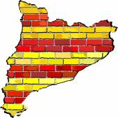 Catalonia map on a brick wall — Stock Vector