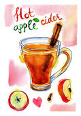 Watercolor picture of apple cider with cinnamon stick — Stock Photo