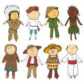 Cartoon kinderen in verschillende traditionele kostuums — Stockvector