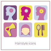 Hairstyle rectangular icons with rounded corners — Stock Vector