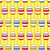 Colorful jars with jam in doodle style — Stock Vector