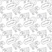 Pattern with images cute sheep — Stock Vector