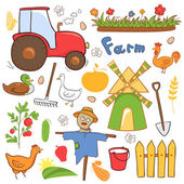 Farm illustrations set in doodle style — Stock Vector