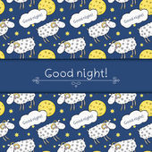 Seamless pattern with images cute sheep — Stock Vector