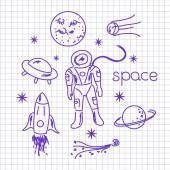 Space objects on notebook sheet — Stock Vector