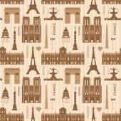 Landmarks of Paris monochrome seamless pattern — Stok Vektör