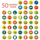 Fifty woman icons set — Stok Vektör