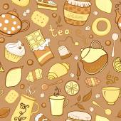 Tea and sweets seamless pattern in doodle style — Stock Vector