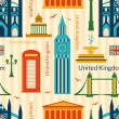Seamless pattern with landmarks of United Kingdom — Stock Vector #58006539