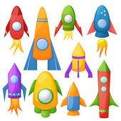 Cartoon rockets illustration set — Stock Vector