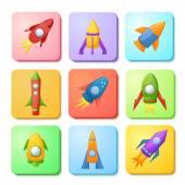 Cartoon rockets set — Stock Vector