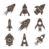 Vector rockets icons — Stock Vector