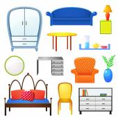 Elements of furniture isolated — Stock Vector