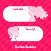 Two female romantic banners — Stock Vector