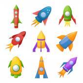 Cartoon rockets illustration set — Stock Vector