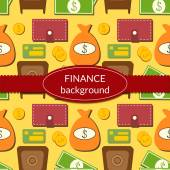 Finance background with objects in flat style — Stock Vector