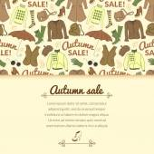 Autumn sale background with season women clothes — Stock Vector