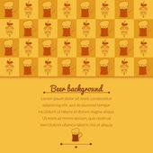 Beer mugs and hop background — Vettoriale Stock