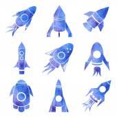 Watercolor rockets icons set — Stock Vector