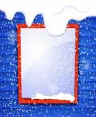 Rectangular window outside house in winter — Stock Vector