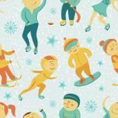 Kış sporları seamless modeli çocuklu — Stok Vektör