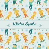 Winter Sports background with children — Stock Vector