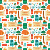 Camping equipment seamless pattern — Stock Vector