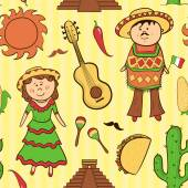 Mexican culture seamless pattern — Stock Vector