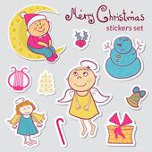 Uppsättning jul klistermärken — Stockvektor