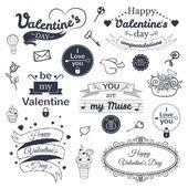Valentine's Day typography set — Stock Vector