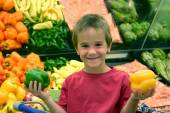 Boy In Grocery Store — Stock Photo