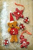 Christmas decorations, bear and decor — Stock Photo