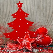 Christmas tree and decorations — Stock Photo