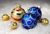 Christmas blue and golden balls — Stock Photo