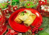 Christmas food Stuffed cabbage — Stock Photo