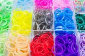 Colorful of elastic rainbow loom bands. — Fotografia Stock