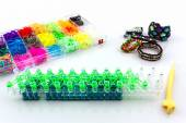 Colorful of elastic rainbow loom bands . — Stock Photo