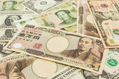 Colorful of  World banknotes background — Stock Photo