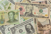 Colorful of  World banknotes background. — Stock Photo
